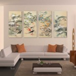 4-Panel-Huge-Chinese-Art-Koi-Fish-Oil-Painting-font-b-Peony-b-font-and-Lotus